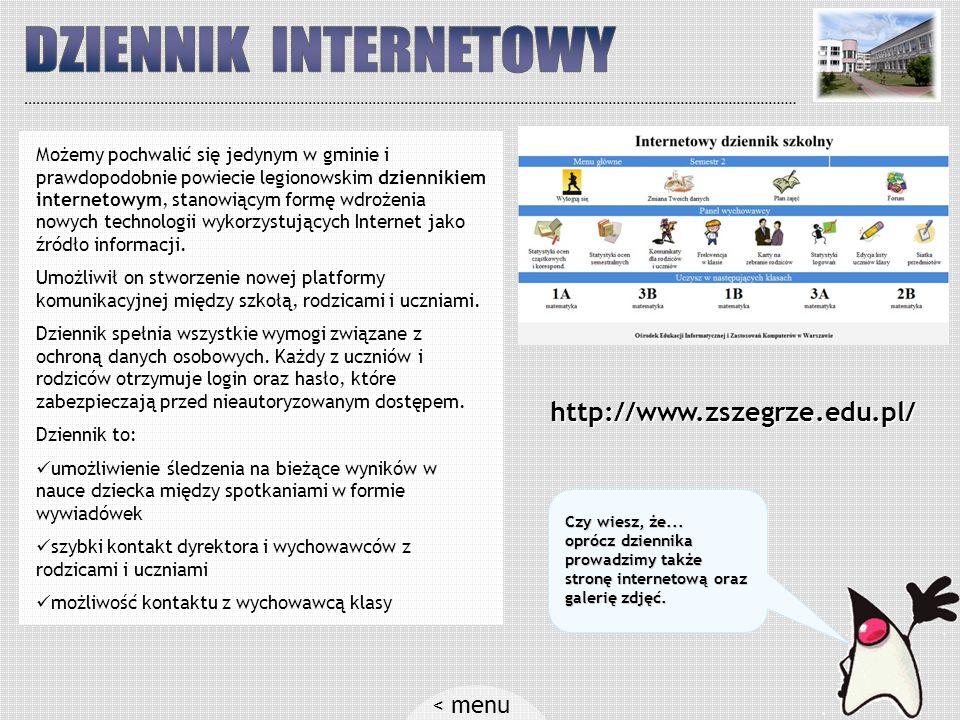 DZIENNIK INTERNETOWY < menu http://www.zszegrze.edu.pl/