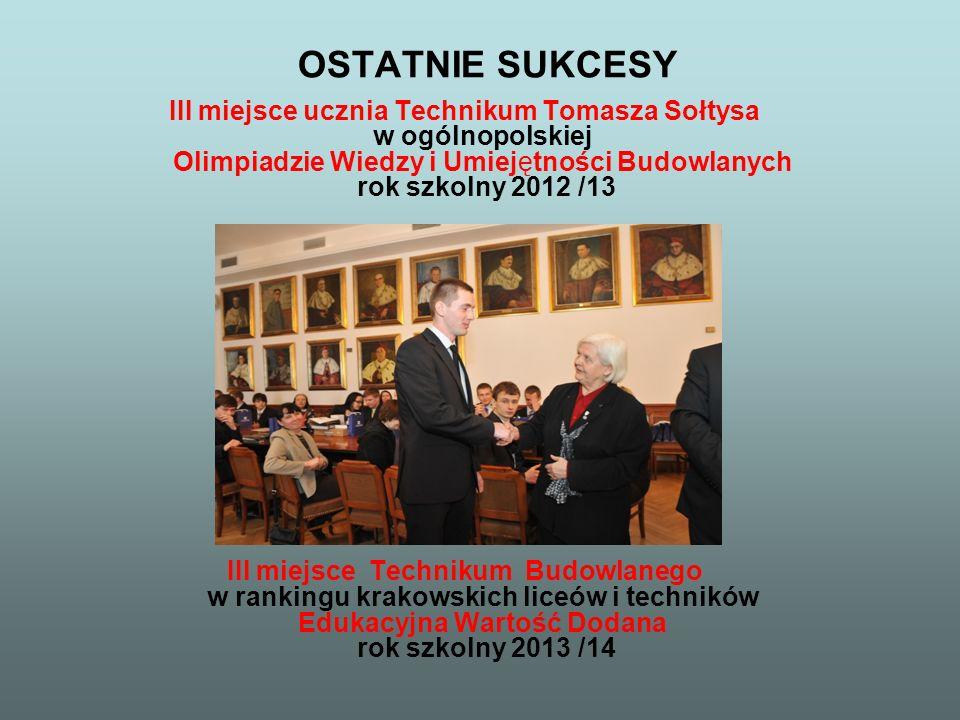 OSTATNIE SUKCESY III miejsce ucznia Technikum Tomasza Sołtysa w ogólnopolskiej Olimpiadzie Wiedzy i Umiejętności Budowlanych rok szkolny 2012 /13.