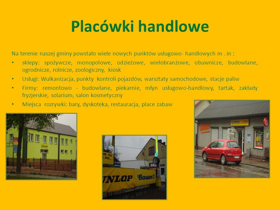 Placówki handlowe Na terenie naszej gminy powstało wiele nowych punktów usługowo- handlowych m . in :