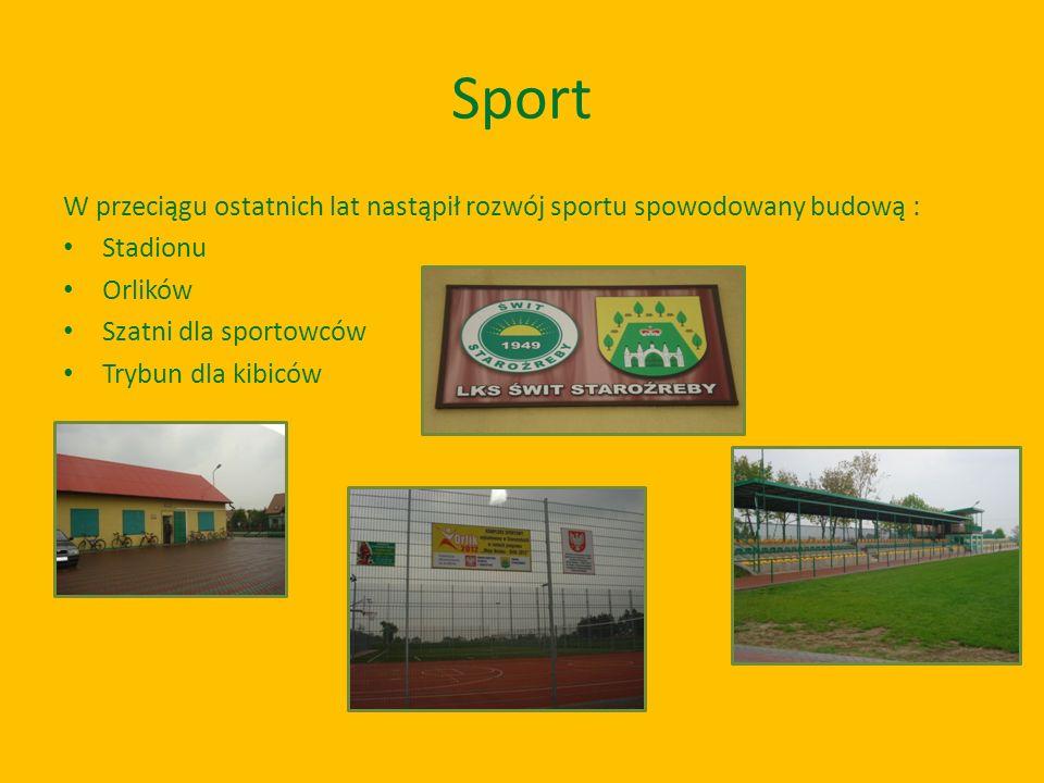 Sport W przeciągu ostatnich lat nastąpił rozwój sportu spowodowany budową : Stadionu. Orlików. Szatni dla sportowców.