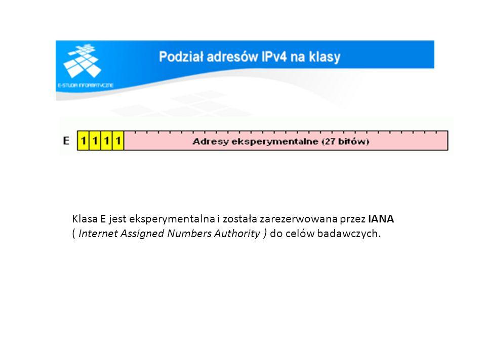 Klasa E jest eksperymentalna i została zarezerwowana przez IANA ( Internet Assigned Numbers Authority ) do celów badawczych.