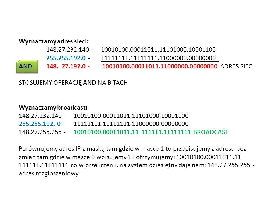 Wyznaczamy adres sieci:. 148. 27. 232. 140 - 10010100. 00011011