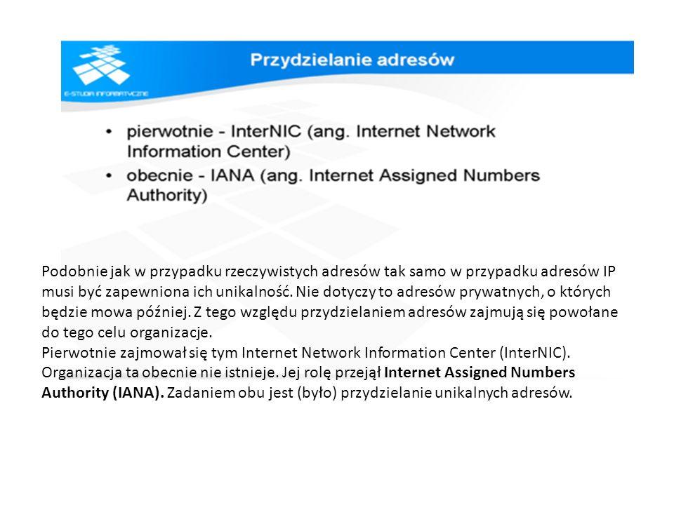 Podobnie jak w przypadku rzeczywistych adresów tak samo w przypadku adresów IP musi być zapewniona ich unikalność. Nie dotyczy to adresów prywatnych, o których będzie mowa później. Z tego względu przydzielaniem adresów zajmują się powołane do tego celu organizacje.