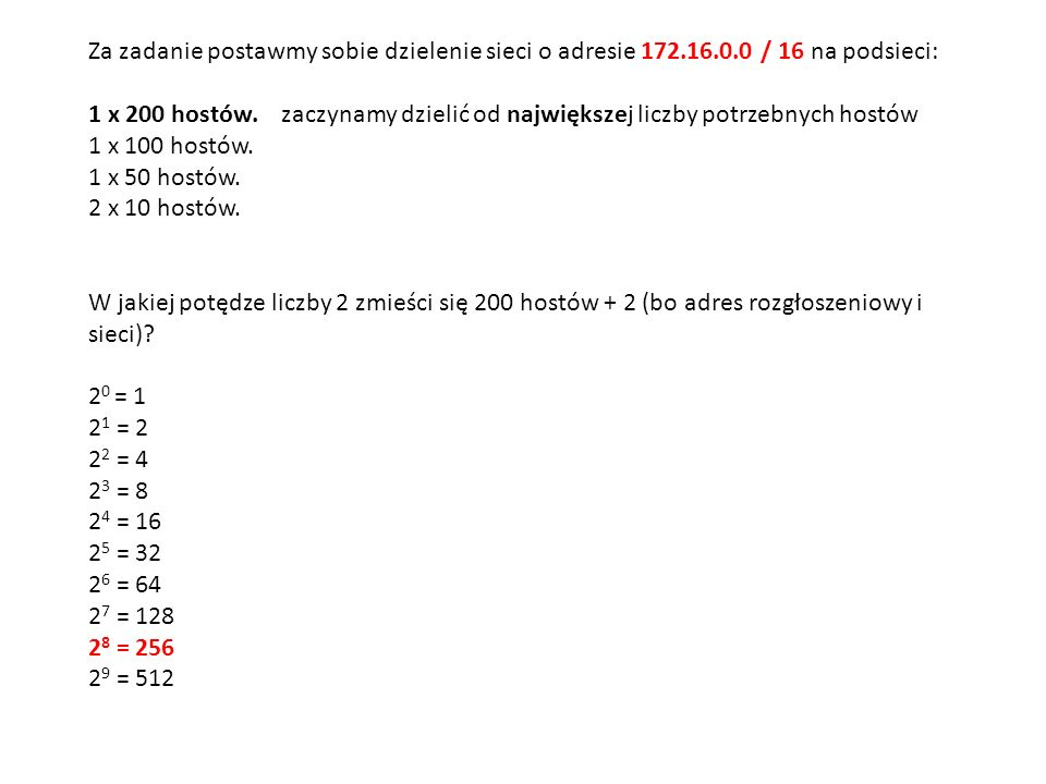 Za zadanie postawmy sobie dzielenie sieci o adresie 172. 16