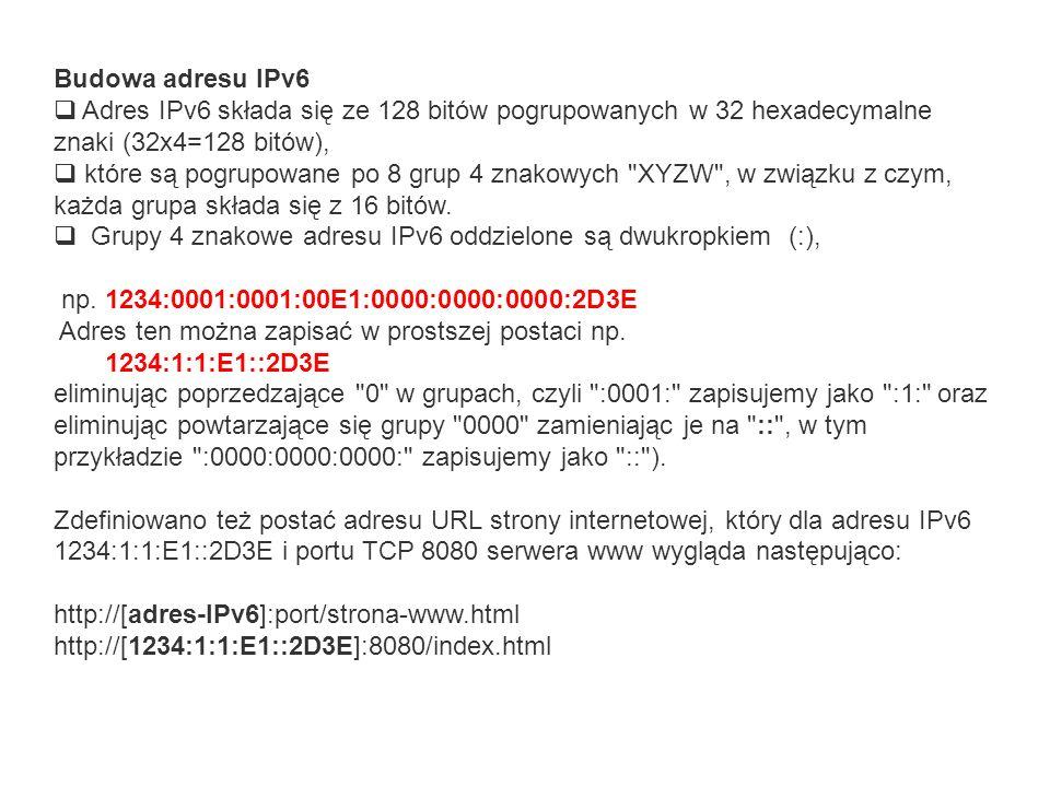 Budowa adresu IPv6 Adres IPv6 składa się ze 128 bitów pogrupowanych w 32 hexadecymalne znaki (32x4=128 bitów),