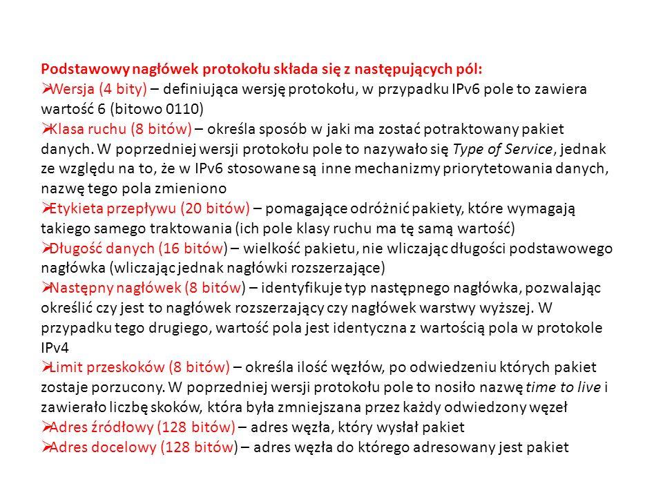 Podstawowy nagłówek protokołu składa się z następujących pól: