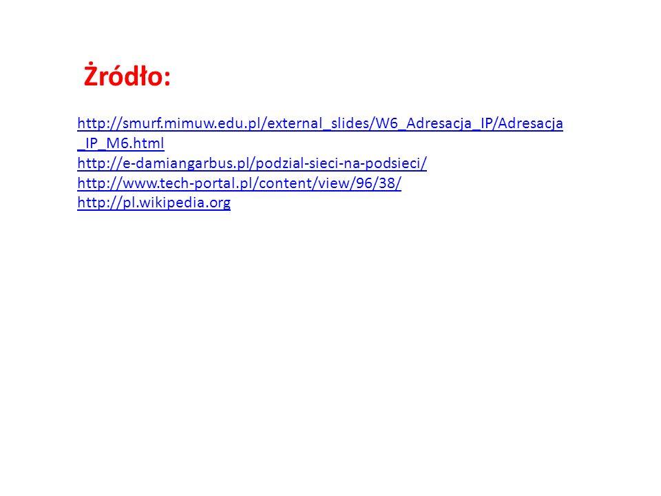 Żródło: http://smurf.mimuw.edu.pl/external_slides/W6_Adresacja_IP/Adresacja_IP_M6.html. http://e-damiangarbus.pl/podzial-sieci-na-podsieci/
