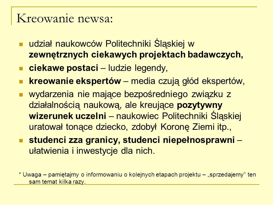 Kreowanie newsa: udział naukowców Politechniki Śląskiej w zewnętrznych ciekawych projektach badawczych,