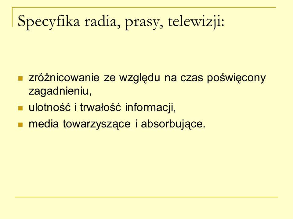 Specyfika radia, prasy, telewizji:
