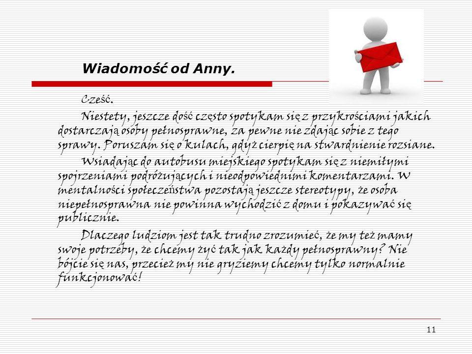Wiadomość od Anny. Cześć.