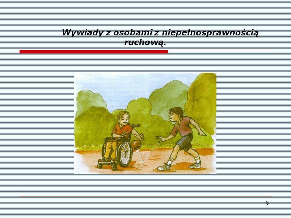 Wywiady z osobami z niepełnosprawnością ruchową.