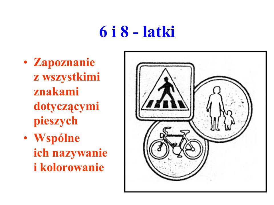 6 i 8 - latki Zapoznanie z wszystkimi znakami dotyczącymi pieszych
