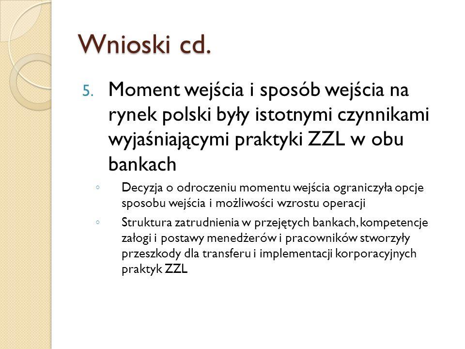 Wnioski cd. Moment wejścia i sposób wejścia na rynek polski były istotnymi czynnikami wyjaśniającymi praktyki ZZL w obu bankach.