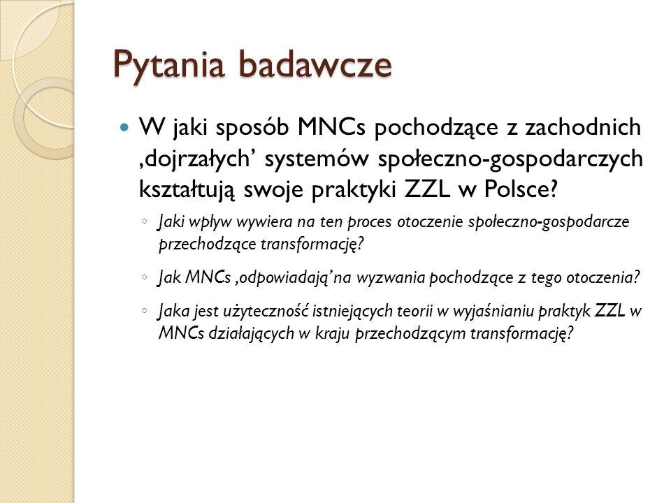 Pytania badawcze W jaki sposób MNCs pochodzące z zachodnich 'dojrzałych' systemów społeczno-gospodarczych kształtują swoje praktyki ZZL w Polsce