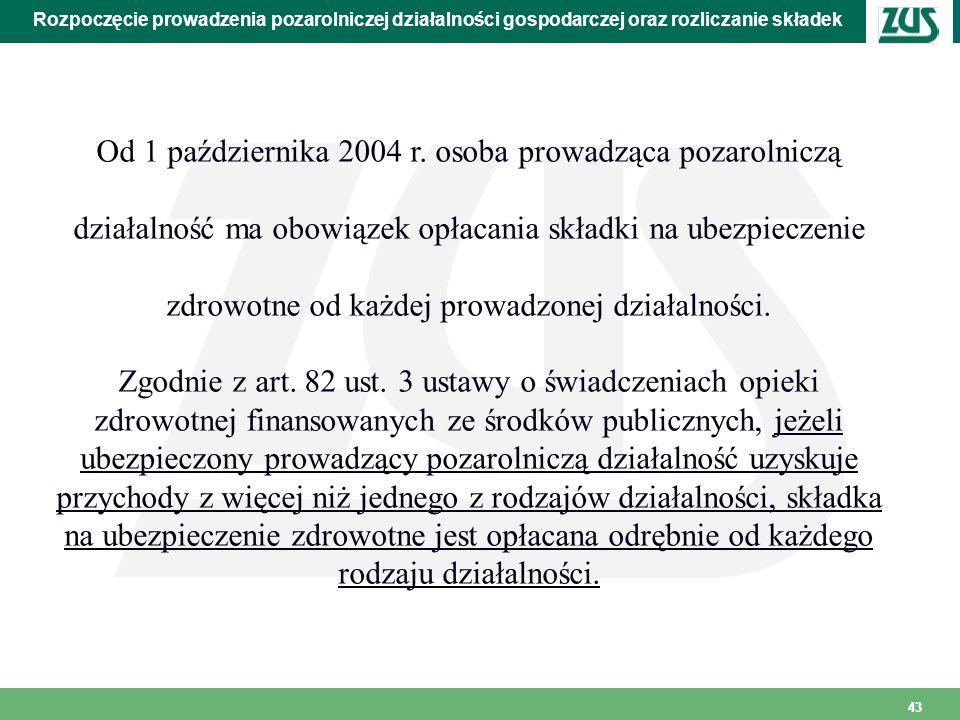 Od 1 października 2004 r. osoba prowadząca pozarolniczą