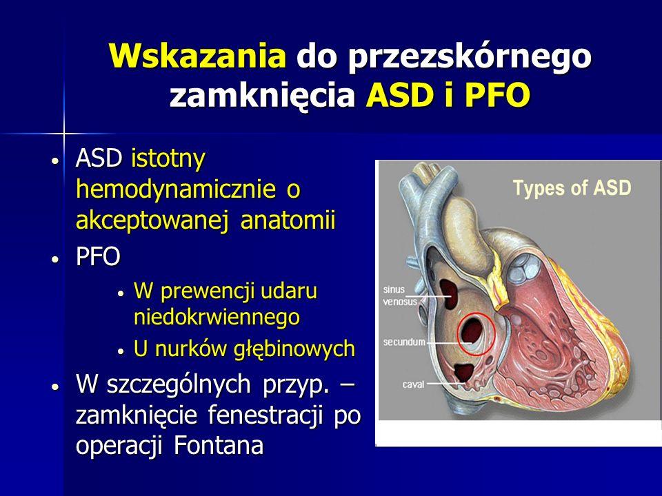 Wskazania do przezskórnego zamknięcia ASD i PFO