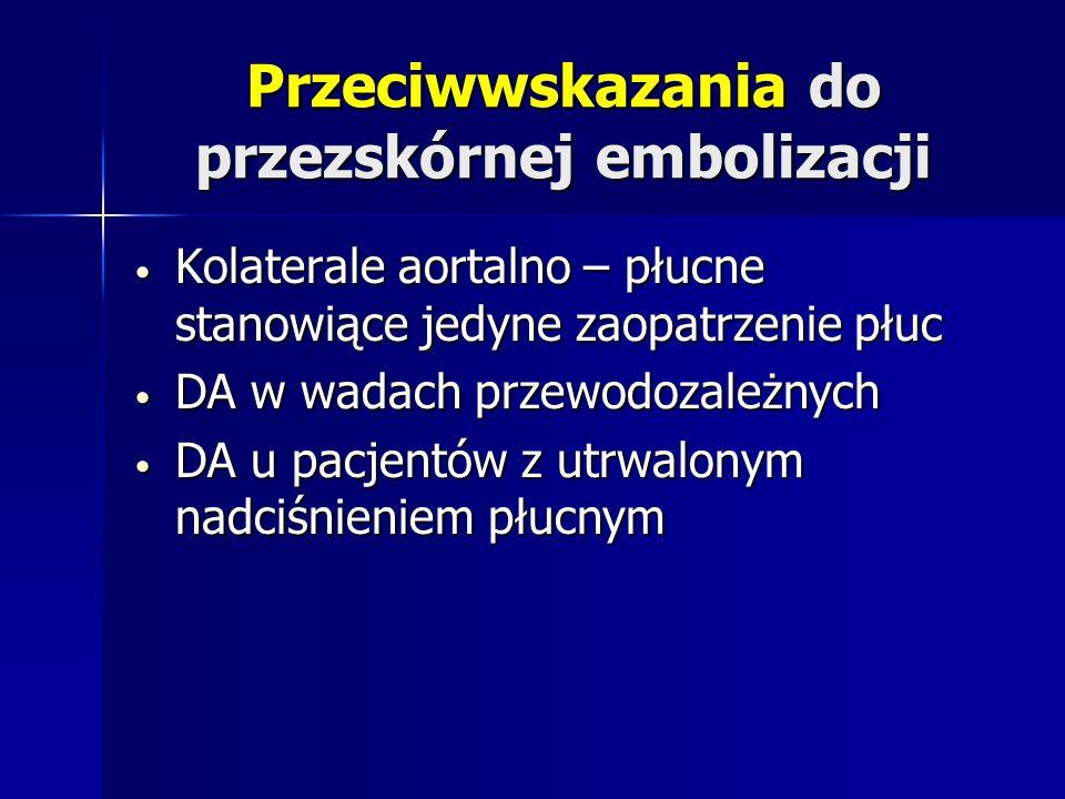 Przeciwwskazania do przezskórnej embolizacji