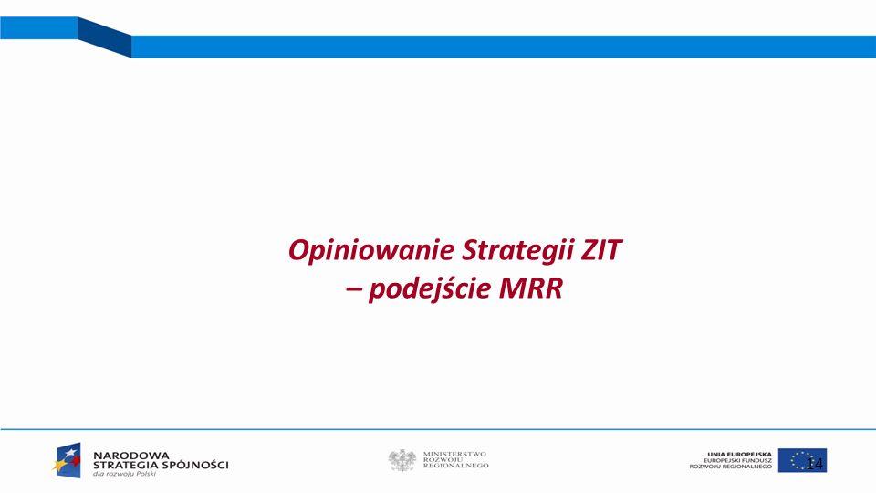 Opiniowanie Strategii ZIT – podejście MRR