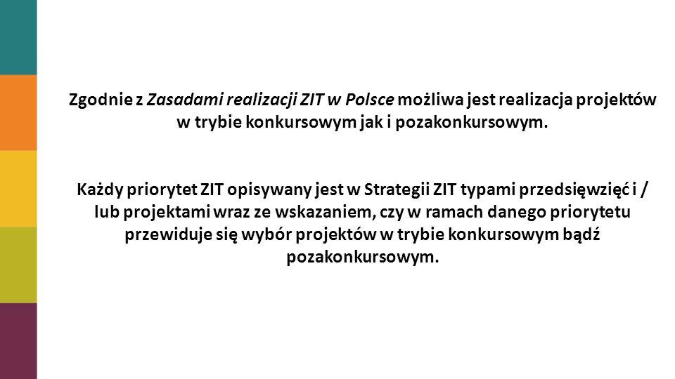 Zgodnie z Zasadami realizacji ZIT w Polsce możliwa jest realizacja projektów w trybie konkursowym jak i pozakonkursowym.
