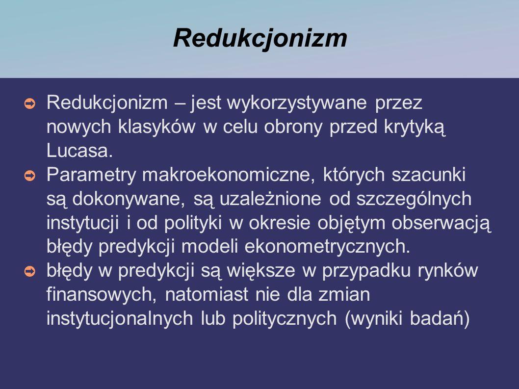 Redukcjonizm Redukcjonizm – jest wykorzystywane przez nowych klasyków w celu obrony przed krytyką Lucasa.