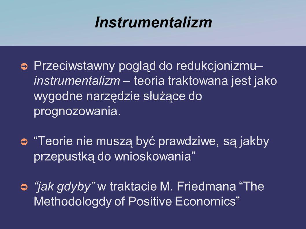 Instrumentalizm Przeciwstawny pogląd do redukcjonizmu– instrumentalizm – teoria traktowana jest jako wygodne narzędzie służące do prognozowania.