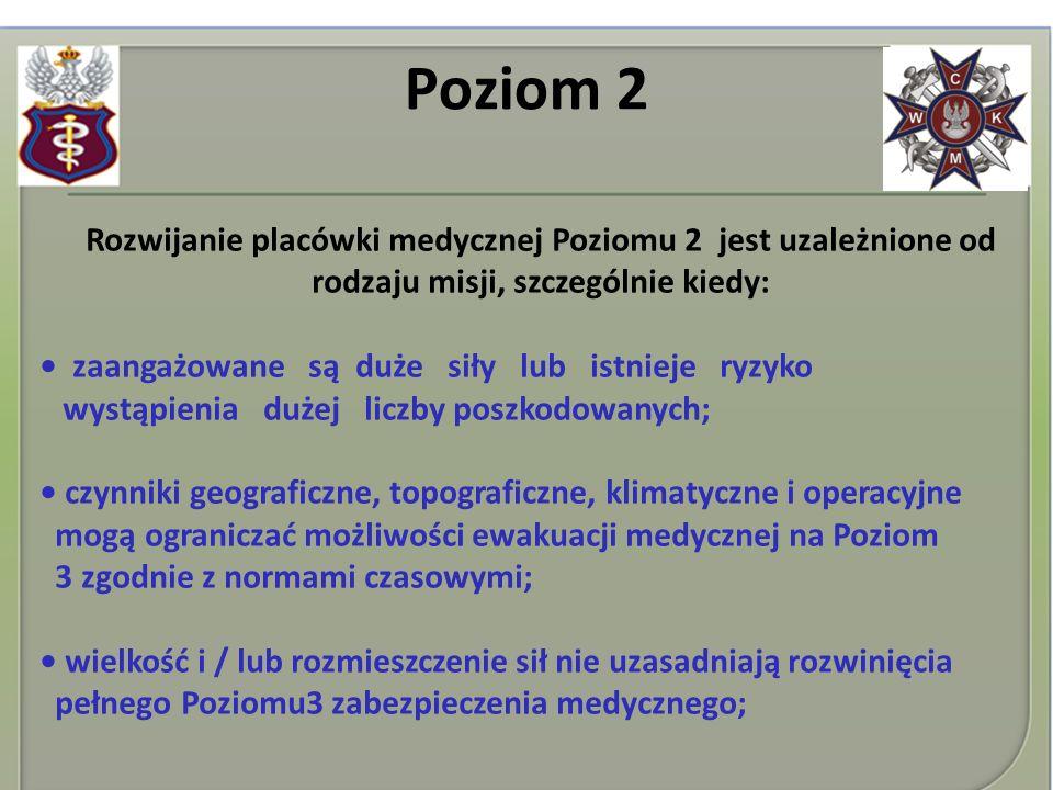 Poziom 2 Rozwijanie placówki medycznej Poziomu 2 jest uzależnione od rodzaju misji, szczególnie kiedy: