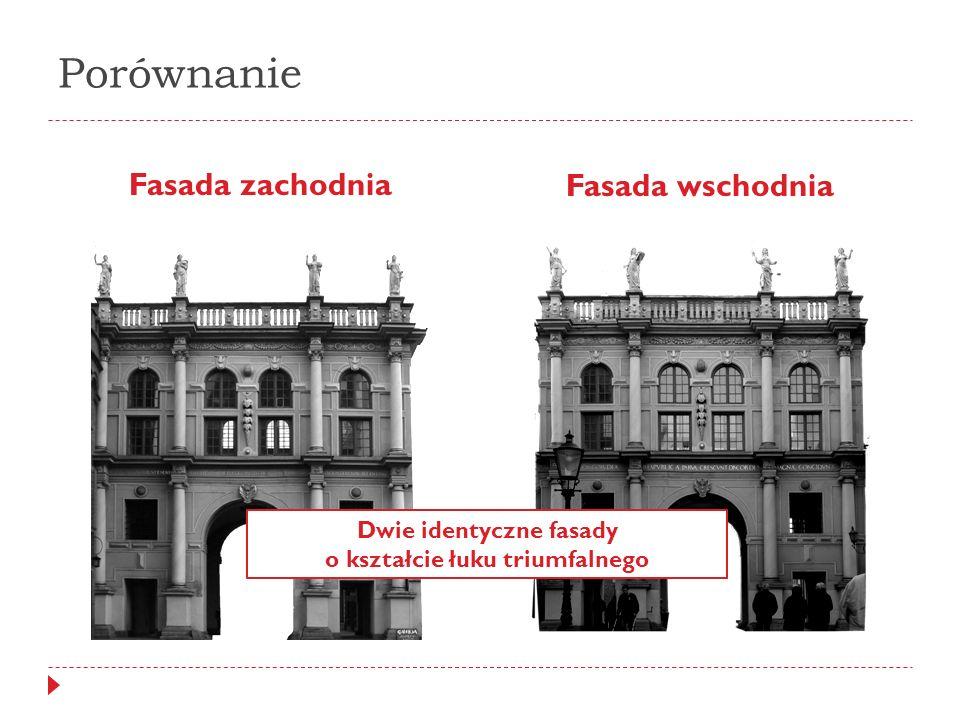 Dwie identyczne fasady o kształcie łuku triumfalnego