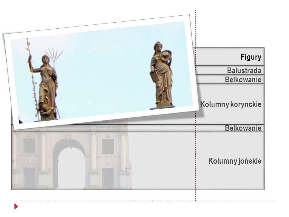 Balustrada Belkowanie Kolumny korynckie Kolumny jońskie Figury