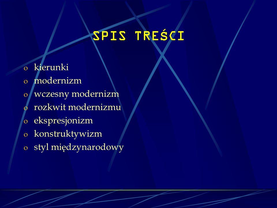 SPIS TREŚCI kierunki modernizm wczesny modernizm rozkwit modernizmu