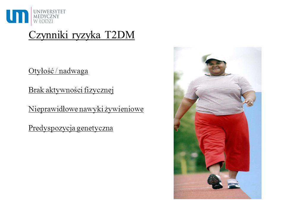 Czynniki ryzyka T2DM Otyłość / nadwaga Brak aktywności fizycznej Nieprawidłowe nawyki żywieniowe Predyspozycja genetyczna.