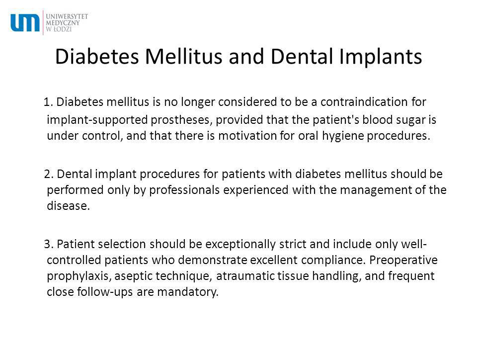 Diabetes Mellitus and Dental Implants