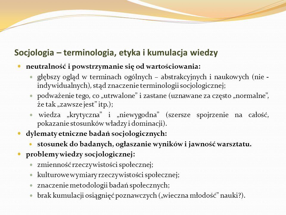 Socjologia – terminologia, etyka i kumulacja wiedzy