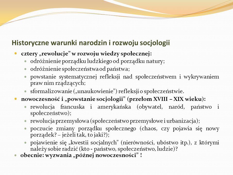 Historyczne warunki narodzin i rozwoju socjologii