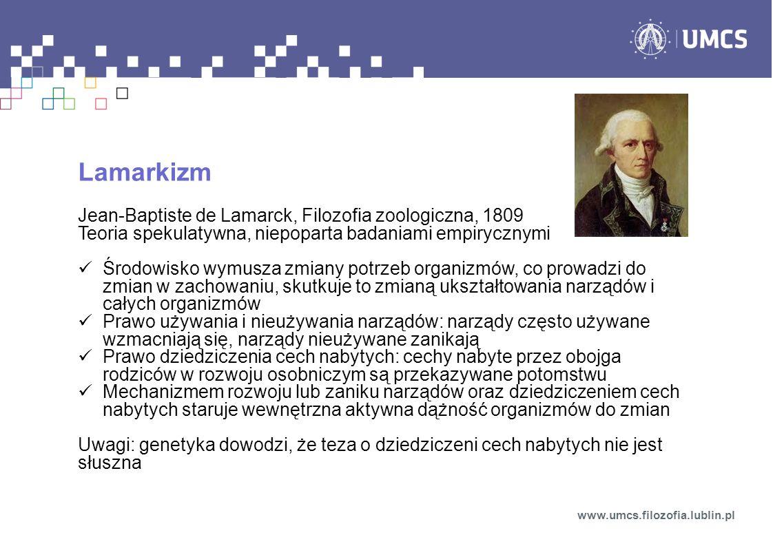 Lamarkizm Jean-Baptiste de Lamarck, Filozofia zoologiczna, 1809