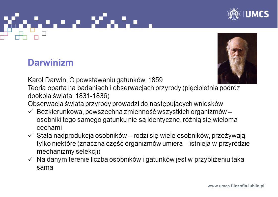 Darwinizm Karol Darwin, O powstawaniu gatunków, 1859