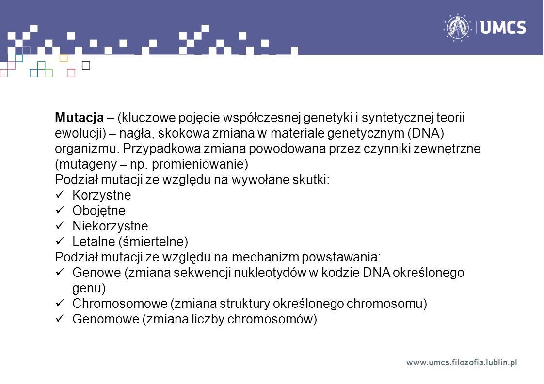 Podział mutacji ze względu na wywołane skutki: Korzystne Obojętne
