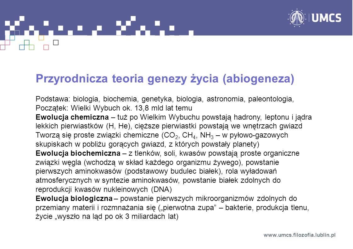 Przyrodnicza teoria genezy życia (abiogeneza)