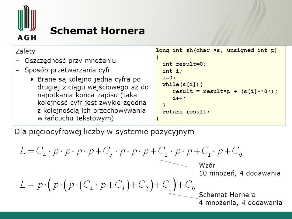 Schemat Hornera Dla pięciocyfrowej liczby w systemie pozycyjnym Zalety