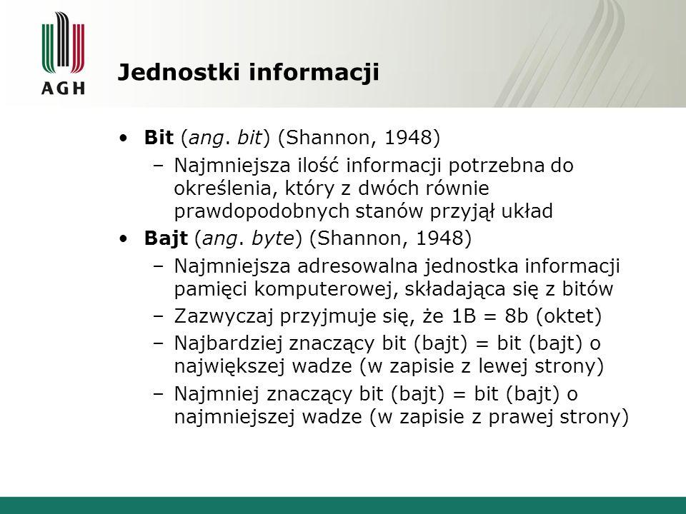 Jednostki informacji Bit (ang. bit) (Shannon, 1948)