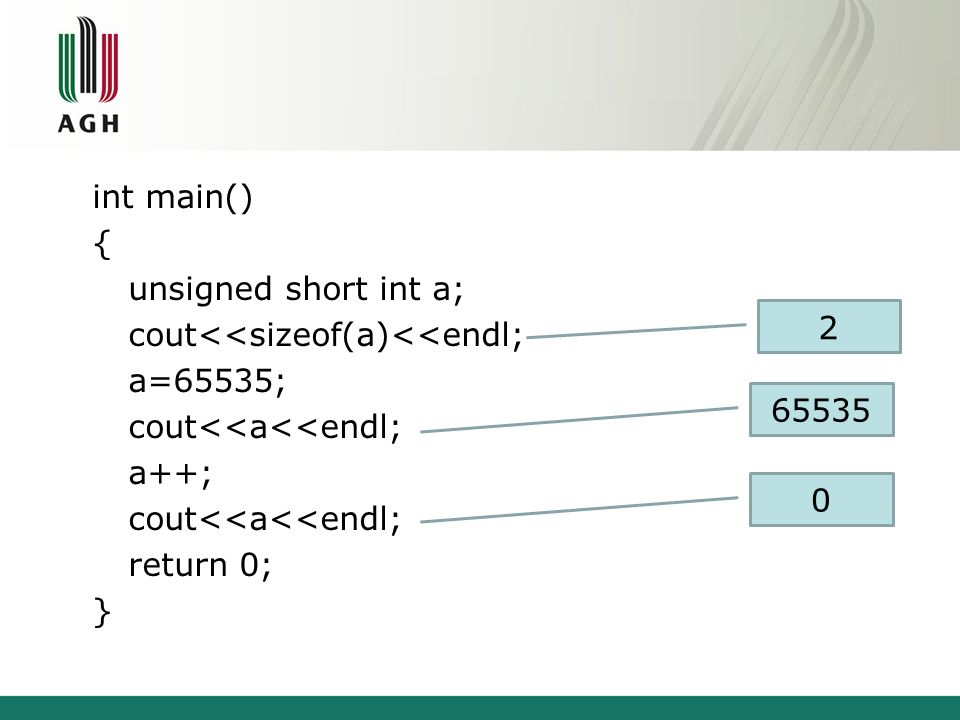 int main() { unsigned short int a; cout<<sizeof(a)<<endl; a=65535; cout<<a<<endl; a++; return 0; } 2.