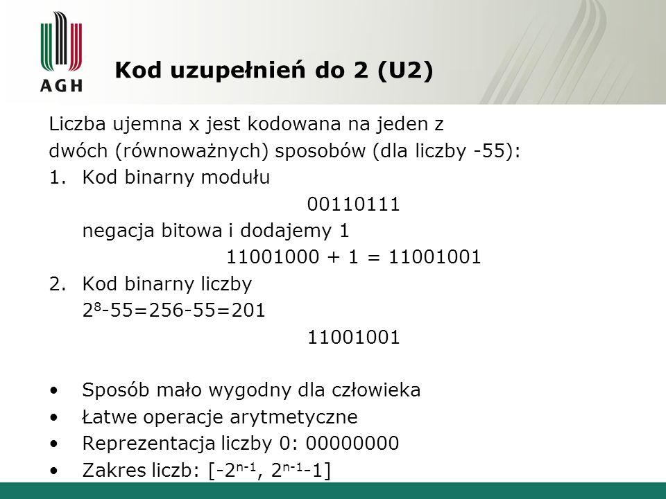Kod uzupełnień do 2 (U2) Liczba ujemna x jest kodowana na jeden z