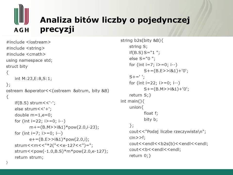 Analiza bitów liczby o pojedynczej precyzji