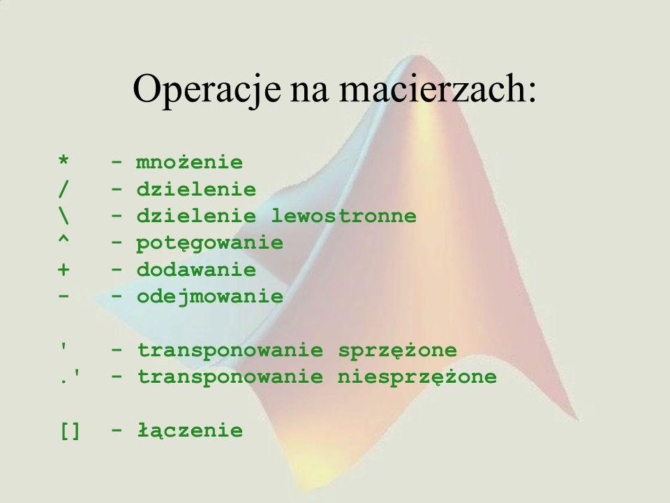 Operacje na macierzach: