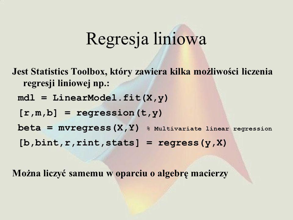 Regresja liniowa Jest Statistics Toolbox, który zawiera kilka możliwości liczenia regresji liniowej np.: