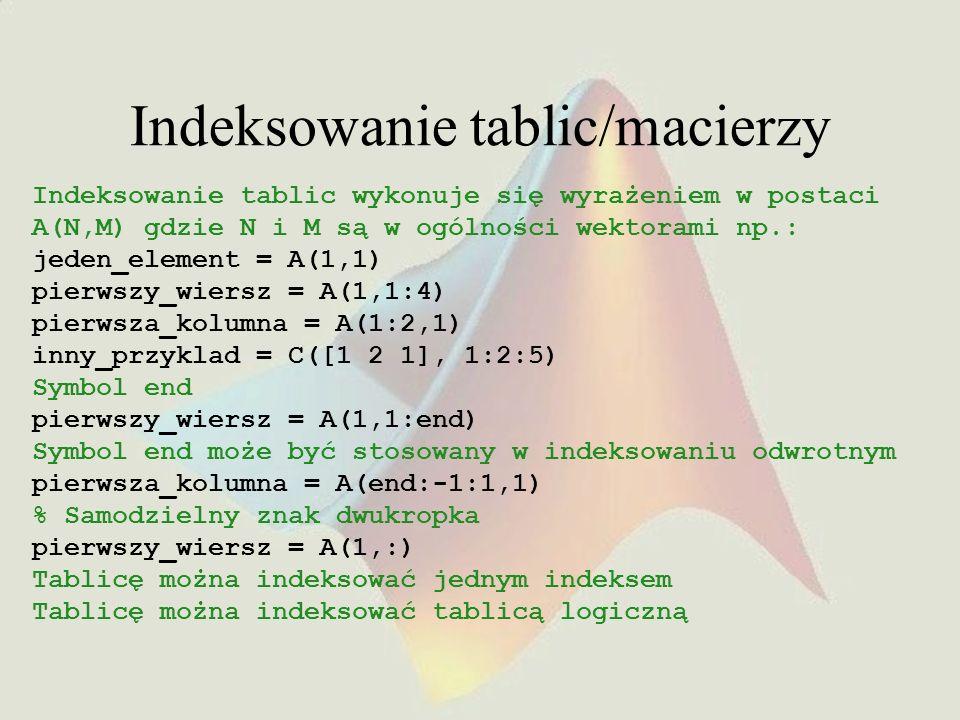 Indeksowanie tablic/macierzy