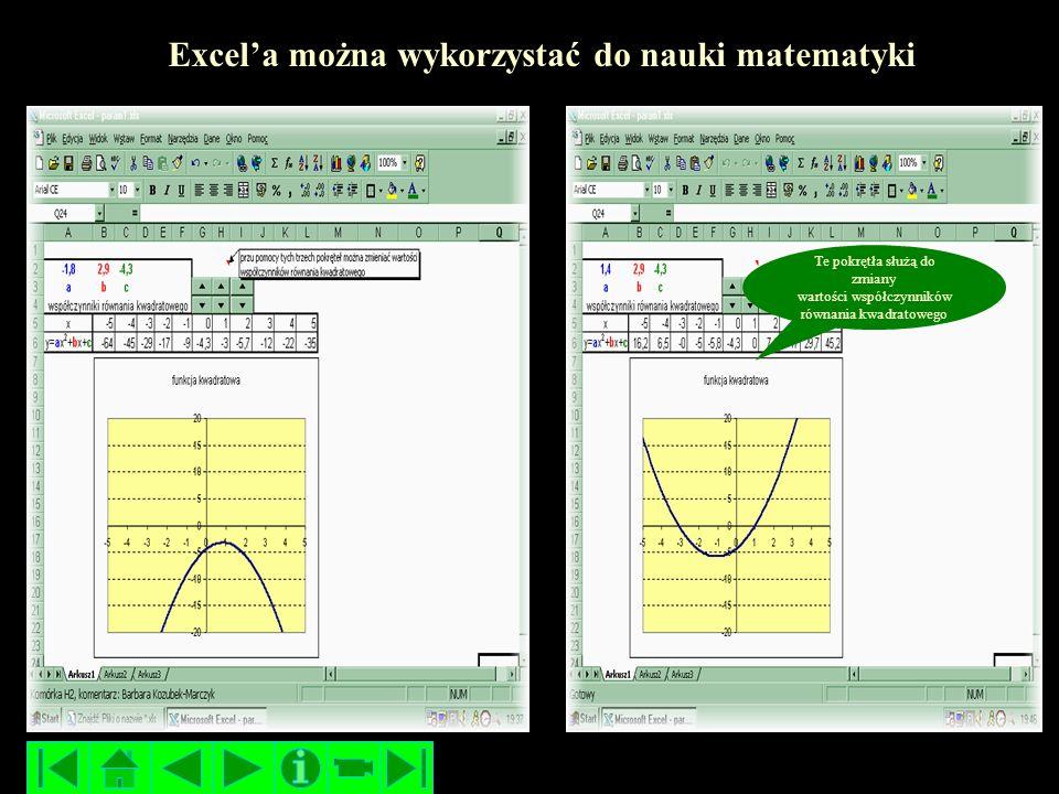 Excel'a można wykorzystać do nauki matematyki