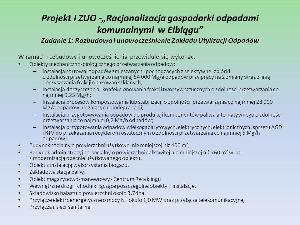 """Projekt I ZUO -""""Racjonalizacja gospodarki odpadami komunalnymi w Elblągu Zadanie 1: Rozbudowa i unowocześnienie Zakładu Utylizacji Odpadów"""