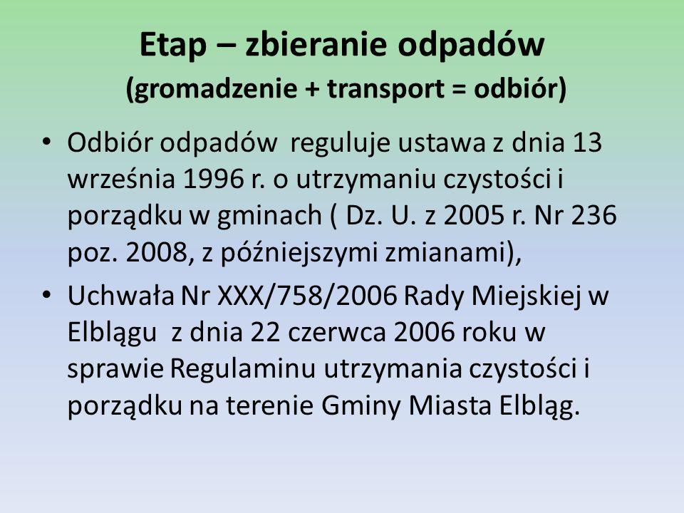 Etap – zbieranie odpadów (gromadzenie + transport = odbiór)