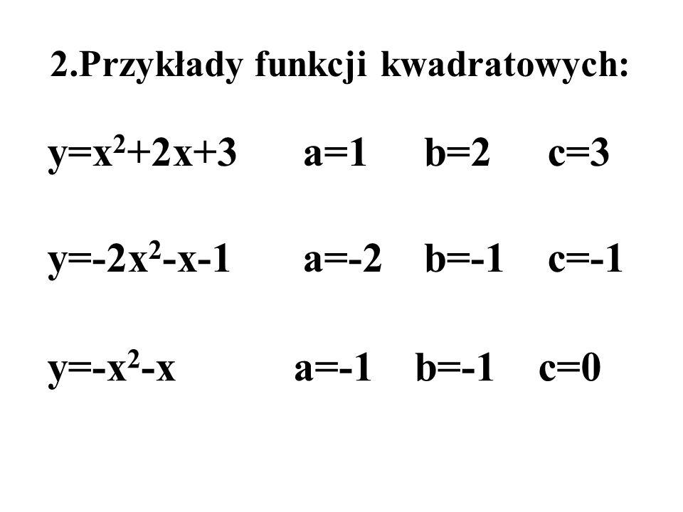 y=x2+2x+3 a=1 b=2 c=3 y=-2x2-x-1 a=-2 b=-1 c=-1 y=-x2-x a=-1 b=-1 c=0