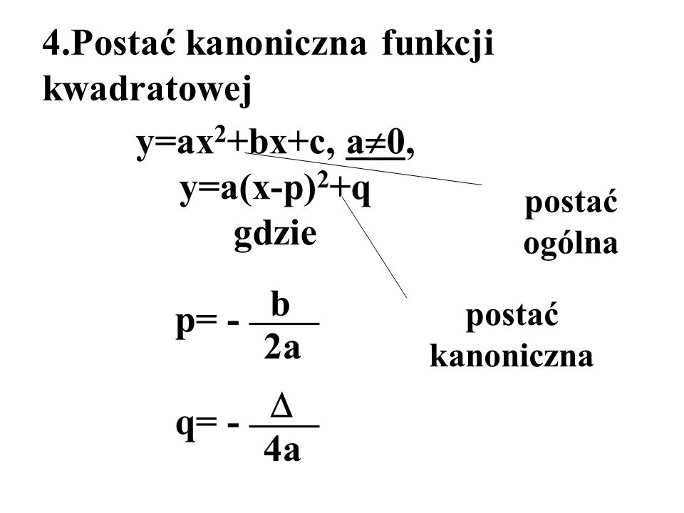 y=ax2+bx+c, a0, y=a(x-p)2+q gdzie